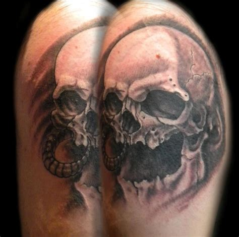 tattoo black and grey skull black and gray skull tattoo by shane baker tattoos
