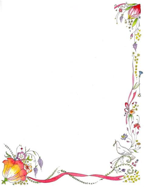 flowers card template border of paper book border template flower green border design