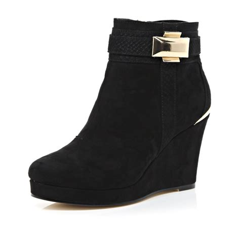 Boot Island 1 lyst river island black metal trim wedge ankle boots in black