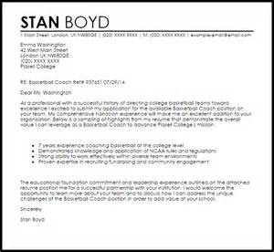Cover Letter For Coaching Position by Basketball Coach Cover Letter Sle Livecareer