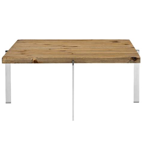 Chrome And Wood Coffee Table Vail Wood Chrome Coffee Table Modern Furniture Brickell Collection