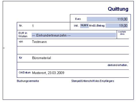 Kostenlose Vorlage Quittung Quittung Erstellen 187 World Of Rechnungsprofi