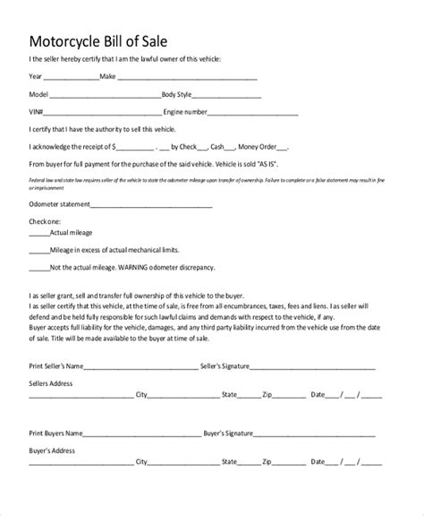 sample generic bill  sale forms   word