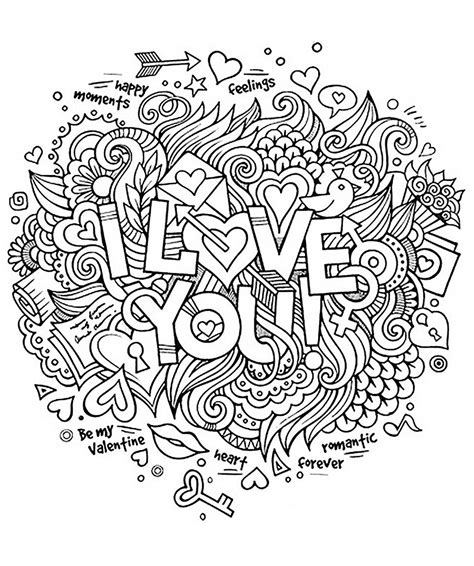 printable doodle quotes i love you quotes adult coloring pages