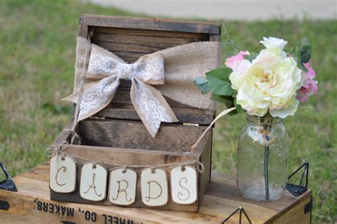 burlap and lace wedding card box shabby chic by redheartcreations