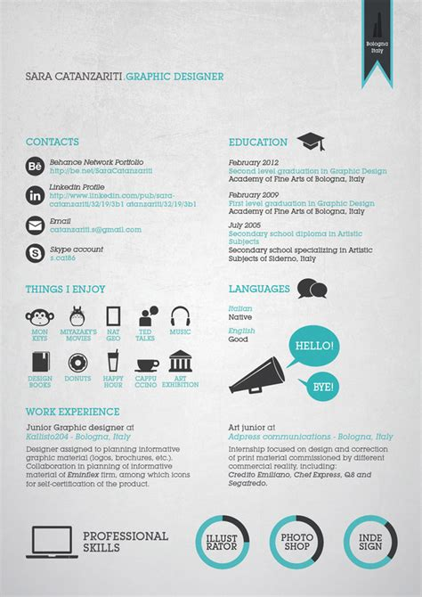 Resume Graphic Design Infographic 30 Exles Of Creative Graphic Design Resumes Infographics