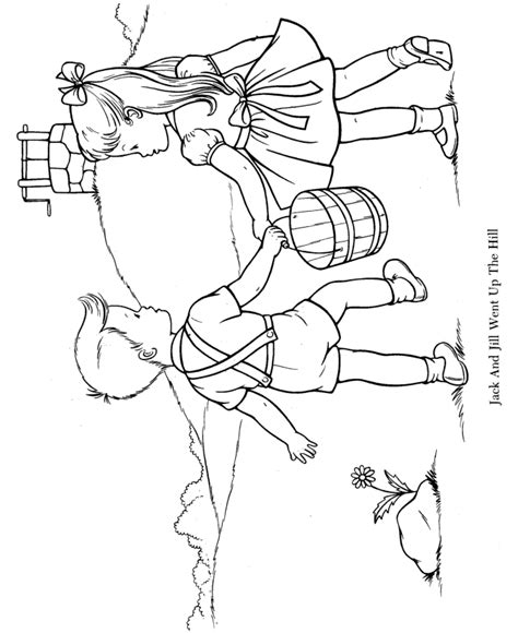 preschool coloring pages jack and jill nursery rhyme coloring page hand embroidery children s