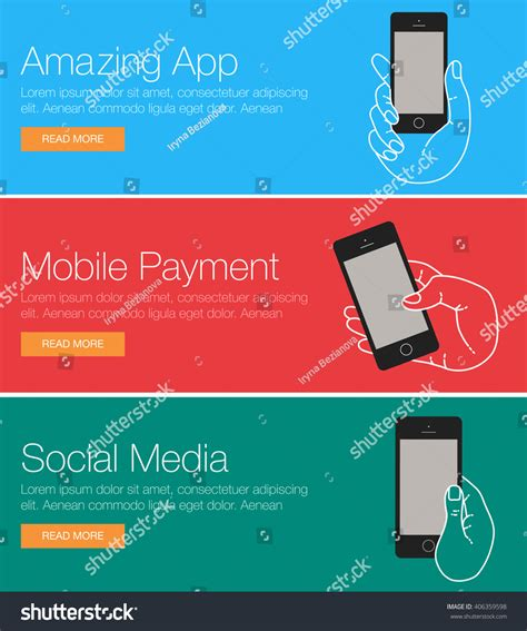 app header layout mobile phone header footer banner layout stock vector