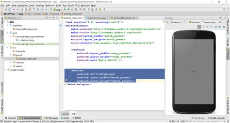android studio layout width get data from website with webview in android studio