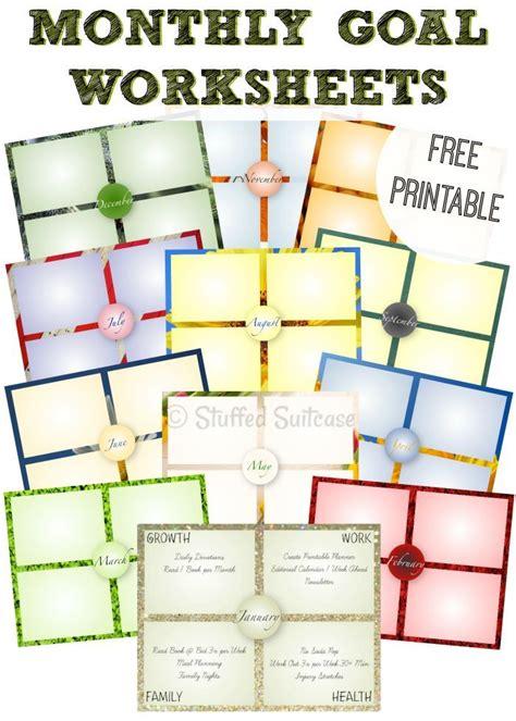 year monthly goal setting worksheet printables