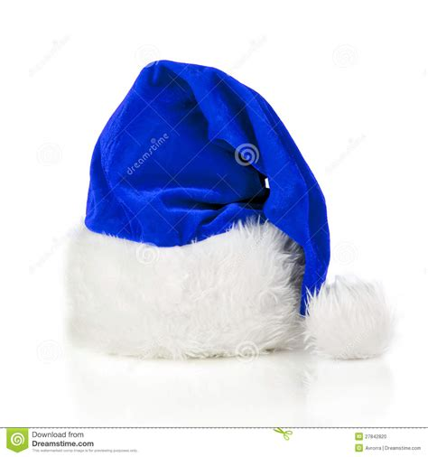 blue santa claus hat stock photo image of present