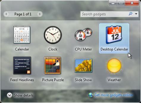 Calendar Desktop Gadget Windows 7 Windows Calendar Gadgets Calendar Template 2016