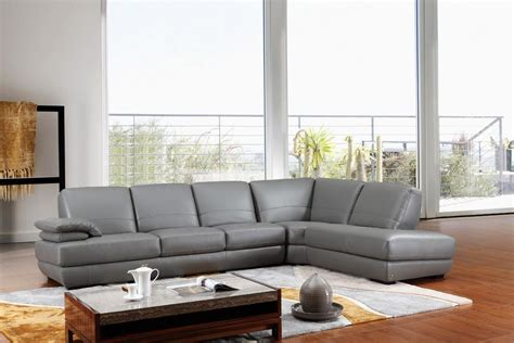 Sectional Sofas Leather Modern 208ang Modern Grey Italian Leather Sectional Sofa