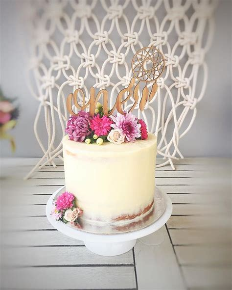 boho rustic cake florals seminaked cake boho birthday macrame wild   birthday boho baby