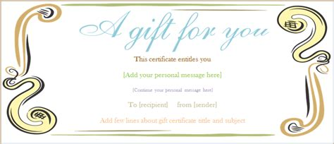 A Gift For You Gift Certificate Template Template For A Gift Certificate