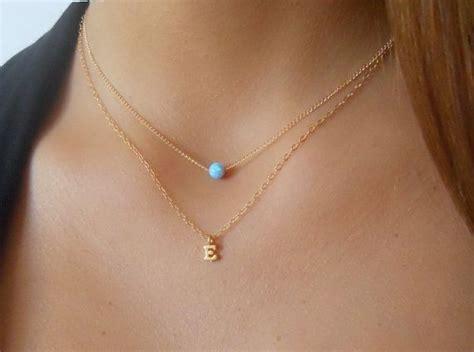 Set Of 2 Pendant Necklace set of 2 necklaces initial necklace opal necklace