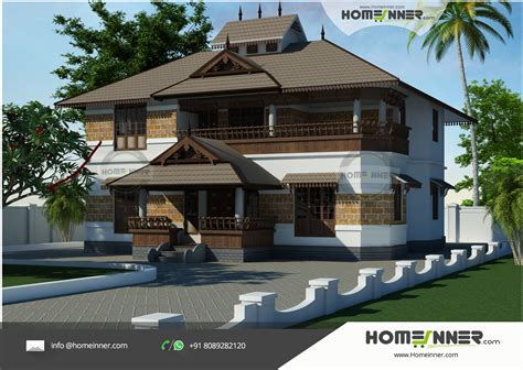 traditional style slope roof 5 bhk kerala house design