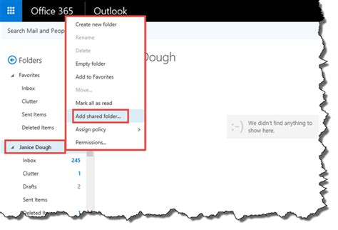 office365 exchange cannot open shared two calendars in access a shared mailbox its