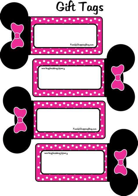 printable minnie mouse luggage tags minnie mouse party gift tags printables pinterest