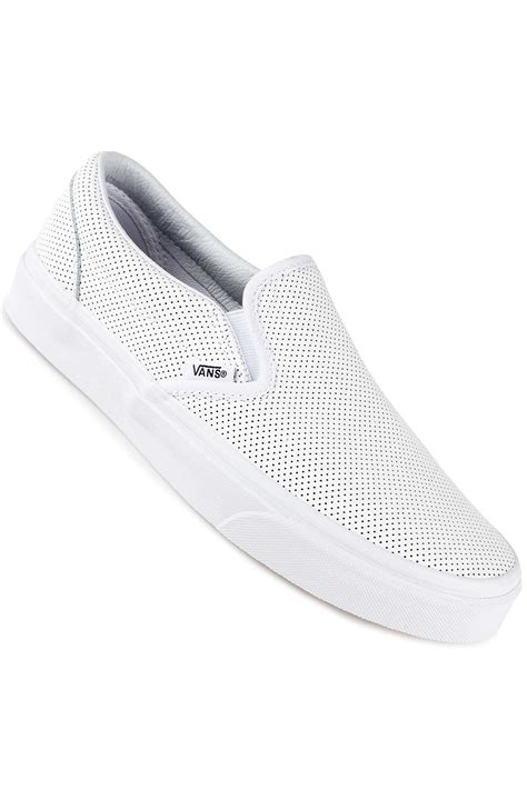 vans classic slip on leather shoes perf white buy
