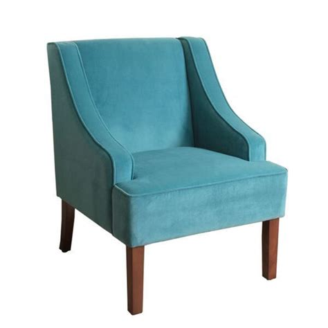 homepop swoop arm accent chair  teal turquoise velvet