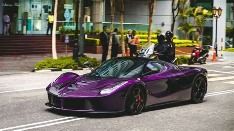 dark purple ferrari stunning dark purple laferrari aperta cruising the streets