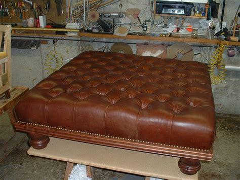 brown leather tufted ottoman oversized tufted ottoman brown cape atlantic decor