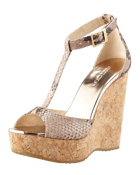 Jimmy Choo Sandal Wedges Jimmy Choo Pela Snakeprint Wedge Sandal In Animal Lyst