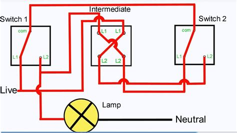 three way light switching intermediate switch