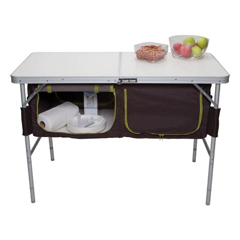 Folding Table With Storage Folding C Table With Storage Bins Westfield Ta 519 Picnic Tables Cing World