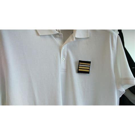 polo blanc 100 coton brod 233 officier de port avec velcro