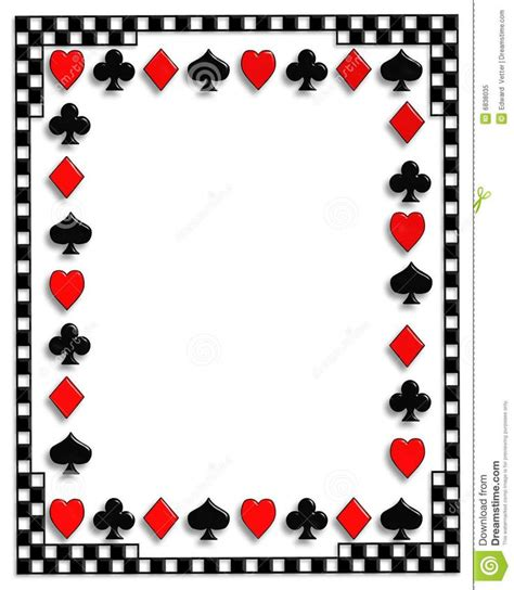 Free Word Template With Border Cards by Tarot Cards Clipart Casino Card Pencil And In Color