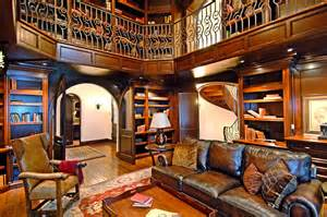 Luxury Home Library Design Decorating Luxury Custom Home Library Design With Leather