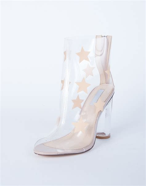 clear heel boots clear pvc boots clear pvc