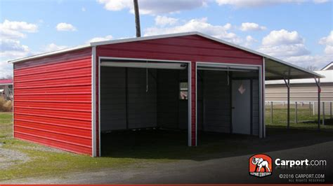 Two Car Garage With Carport by Metal Garage Two Car 20 X 26 Shop Metal Buildings