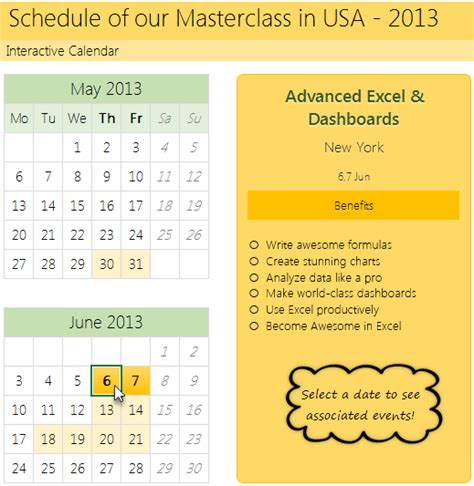how to create interactive calendar to highlight events
