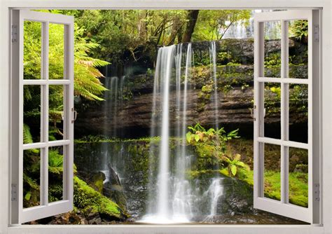 russel falls wall sticker waterfall wall decal 3d window