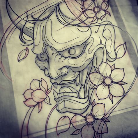 tattoo design japanese book hanya mask drawing mike tattoo custom tattoos toronto