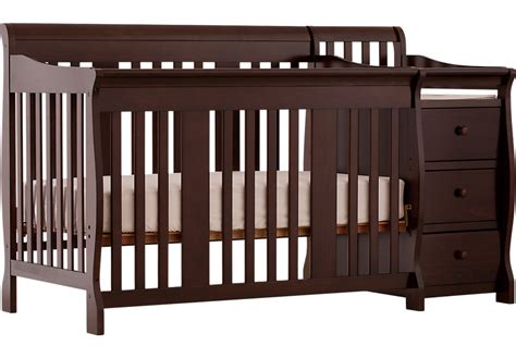 Portofino Espresso Crib And Changer Combo Cribs Dark Wood Baby Cribs With Changer