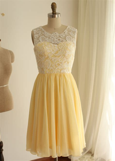 knee length ivory lace yellow chiffon prom dress