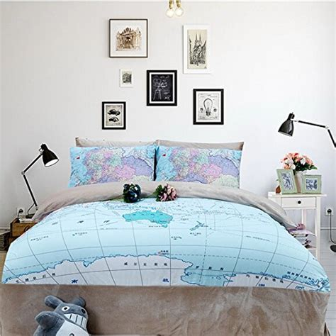 map comforter set memorecool home textile creative world map pattern bedding