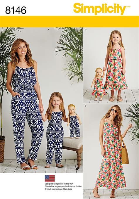 pattern matching sewing simplicity simplicity pattern 8146 matching outfits for