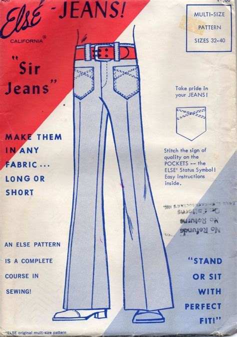 sewing pattern jeans mens else 400 1970s mens pants pattern bell bottoms sir jeans