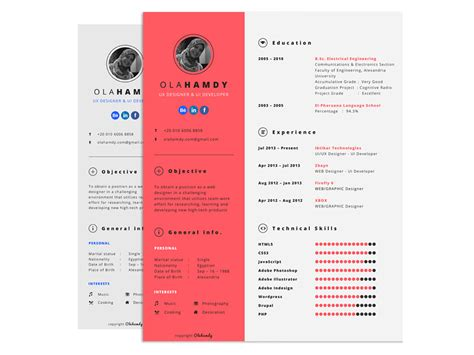 Interactive Resume by Free Interactive Resume Template With Clean Design