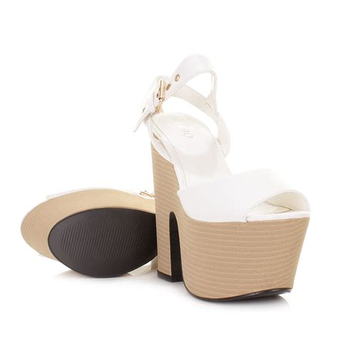 wedge high heel shoes womens white leather look demi