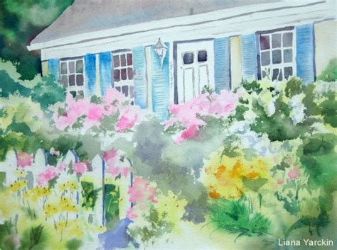 cottage garden flowers and gifts watercolors by liana yarckin cottage gardens