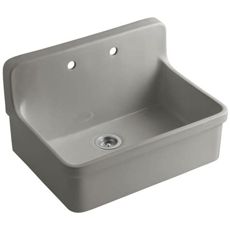 kohler drop in kitchen sinks shop kohler gilford single basin drop in porcelain kitchen