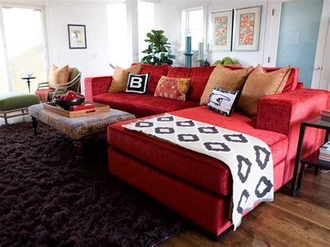 on the red couch vibrant red sofas living room and dining room decorating