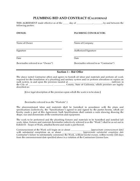 bid form bid proposal template for contractor construction