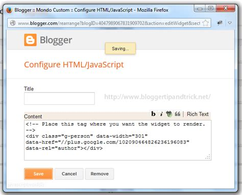 blogger javascript how to add google profile badge to blogger blogger tips